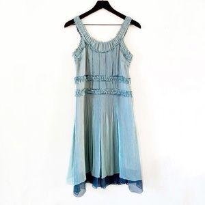 Marc Jacobs Seafoam Pleated Crepe Silk Dress